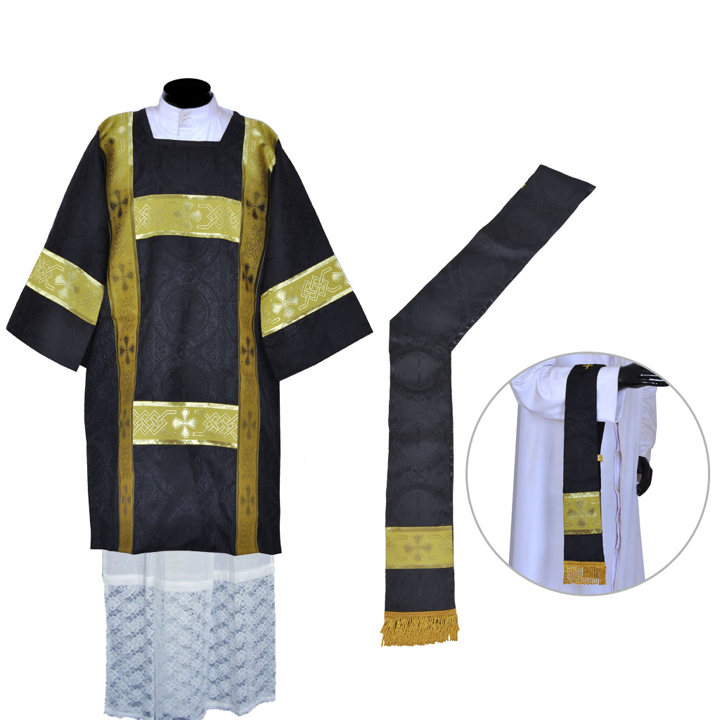 Dalmatics Black Deacon Dalmatic Vestment & Mass Set