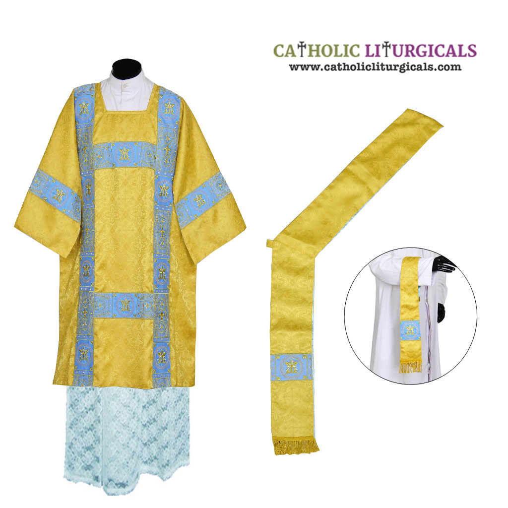 Dalmatics Yellow Gold Deacon Dalmatic Vestment & Mass Set