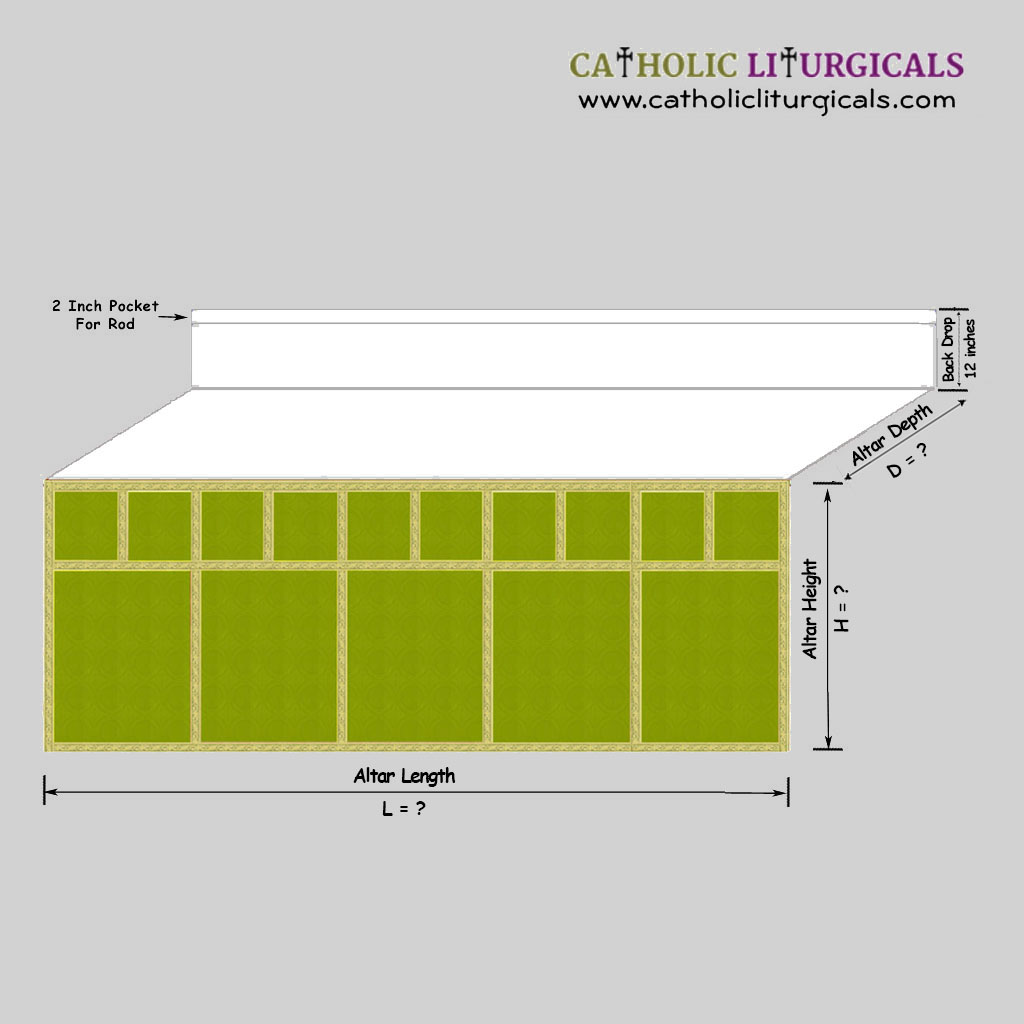 Altar Frontals Olive Green Altar Frontal - with Mensa Top