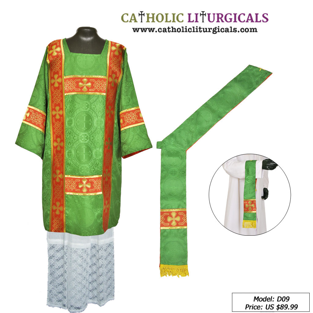 Dalmatics Green Deacon Dalmatic Vestment & Mass Set