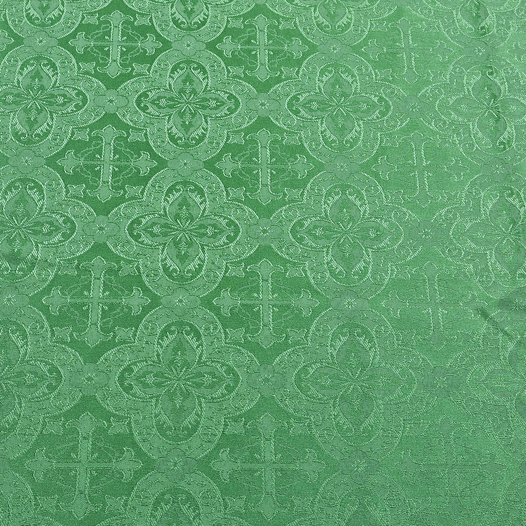 Fabrics Cross Designed Church Damask Fabric: Green