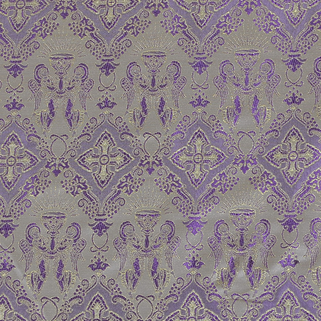 Fabrics Angel with Chalice Designed Brocade Fabric: Purple