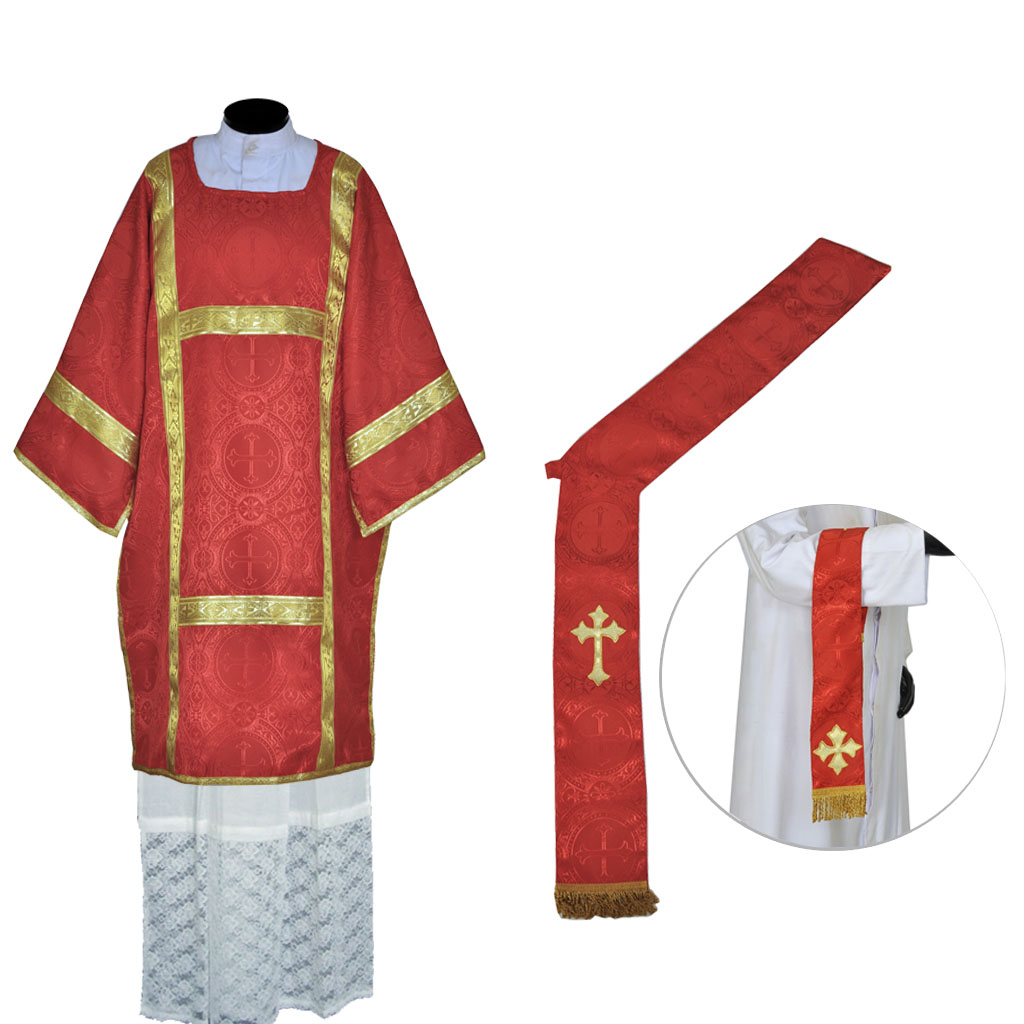 Dalmatics Red Deacon Dalmatic Vestment & Mass Set