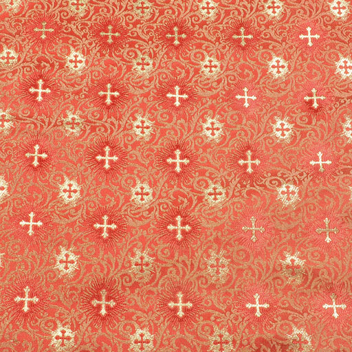 Fabrics Cross Designed Brocade Fabric : Red