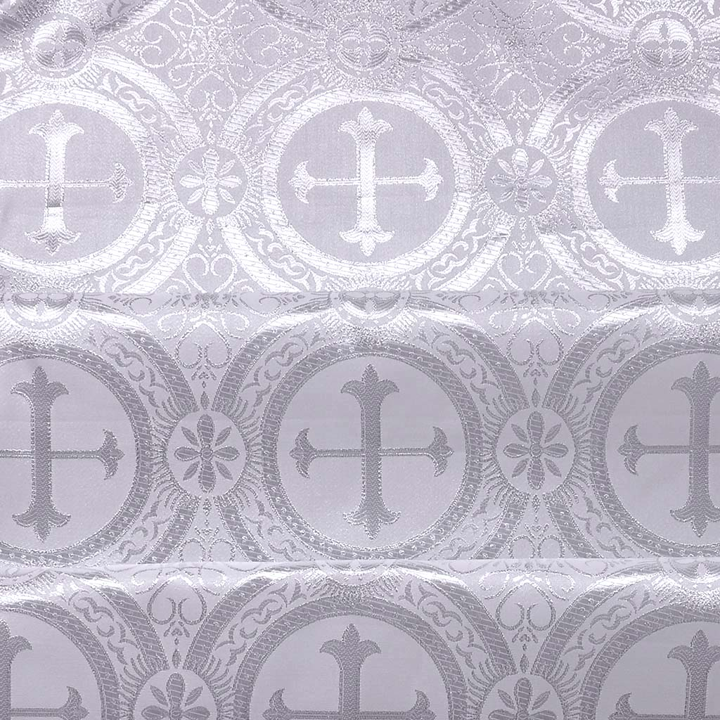 Fabrics Cross Designed Brocade Fabric: White & Silver