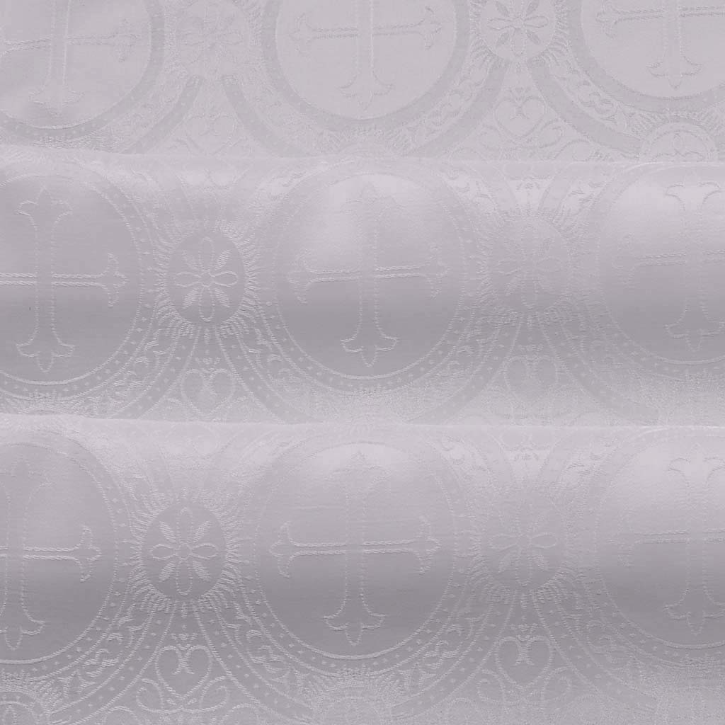Fabrics Cross Designed Damask Fabric: White