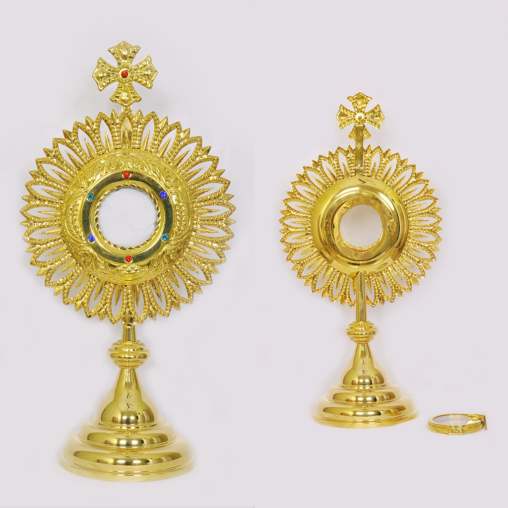Monstrance 19 inch Gold Plated Monstrance with 3 inch Luna
