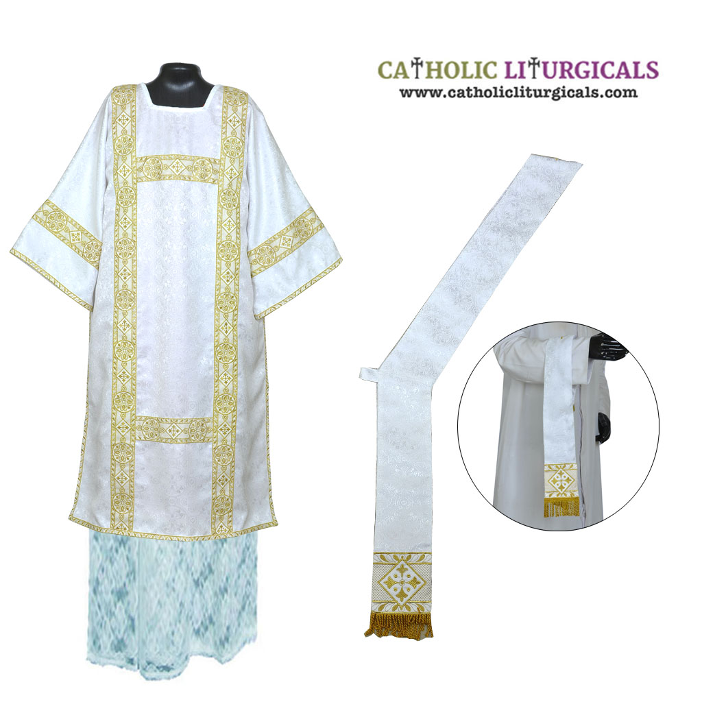 Dalmatics White Deacon Dalmatic Vestment & Mass Set