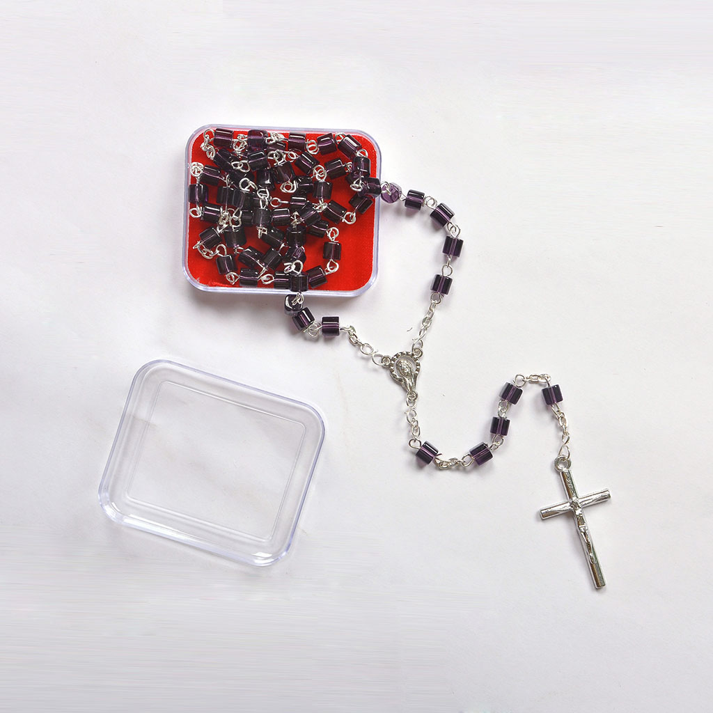 Rosaries Wine Purple Crystal Square Bead Rosary (w Box)